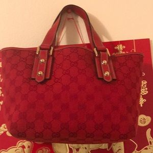 Authentic Red Gucci Small Tote Bag